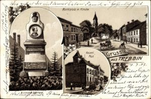 Litho Trebbin im Kreis Teltow Fläming, Bismarck Denkmal, Marktplatz, Kirche, Postamt