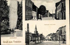 Ak Trebbin im Kreis Teltow Fläming, Goldfischteich, Marktplatz, Kirche, Mühlenstraße