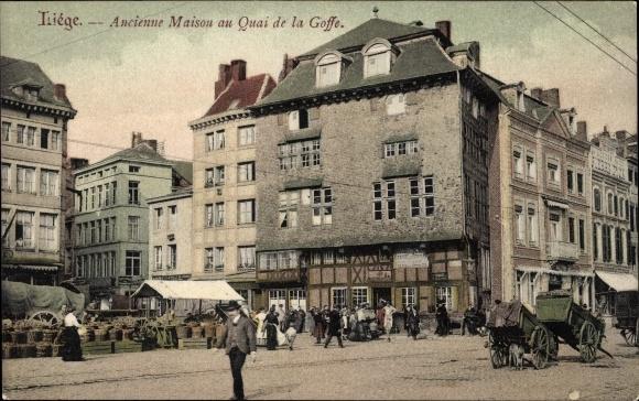 Ak Liège Lüttich Wallonien, Ancienne Maison au Quai de la Goffe, Marktstände, Karren