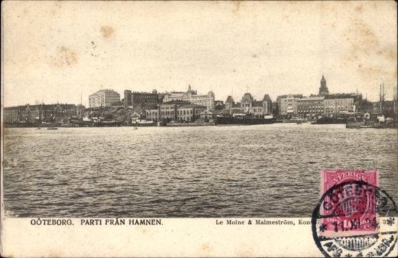 Ak Göteborg Schweden, Parti fran Hamnen, Blick vom Hafen zur Stadt