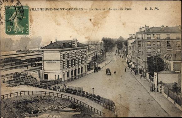 Ak Villeneuve Villeneuve Saint Georges Val de Marne, La Gare et l'Avenue de Paris, Bahnhof,Bahnsteig