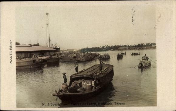 Ak Saigon Cochinchine Vietnam, Entrée de l'arroyo chinois, Flusspartie mit Booten
