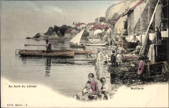Ak Meillerie Haute Savoie, Au bord du Leman, Ufer des Genfer Sees, Boote, Kinder