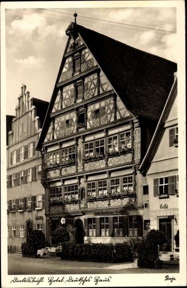 Ak Dinkelsbühl im Kreis Ansbach Mittelfranken, Hotel Deutsches Haus, Fachwerk