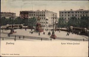 Ak Hamburg Mitte Altstadt, Partie am Kaiser Wilhelm Denkmal