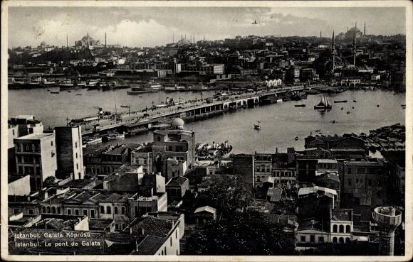 Ak Konstantinopel Istanbul Türkei, Blick auf die Galata Brücke, Stadtpanorama