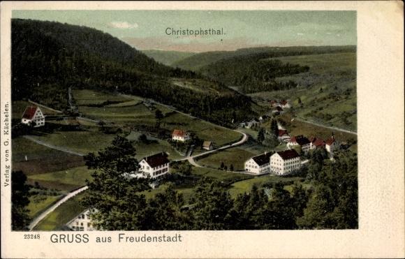 Ak Freudenstadt im Nordschwarzwald, Blick ins Christophsthal, Häuser, Wälder 0