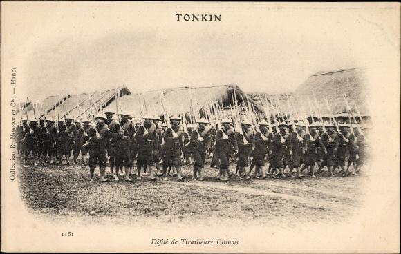 Ak Tonkin Vietnam, Défilé de Tirailleurs chinois, Schützen