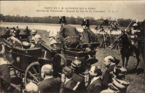 Ak Paris, König Alfons XIII. von Spanien, Émile Loubet, Staatsbesuch