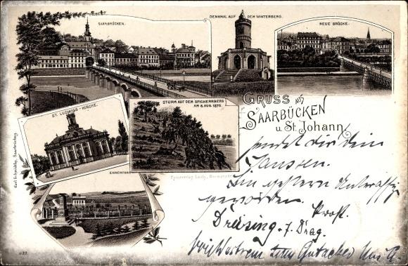 Litho St. Johann Saarbrücken im Saarland, Denkmal auf dem Winterberg, Sturm auf den Spichenberg