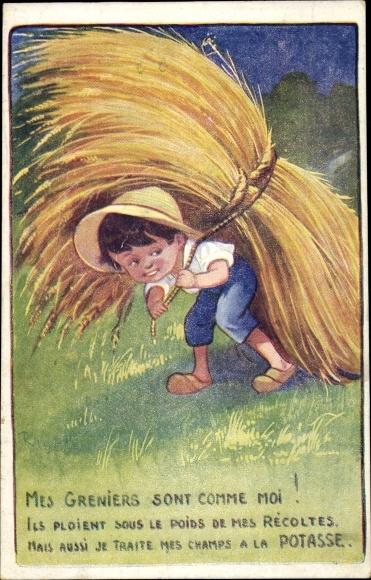 Künstler Ak Mes Greniers sont comme moi, Potasse d'Alsace, Junge trägt Getreide, Landwirtschaft