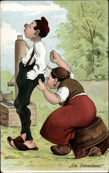 Litho Ein Liebesdienst, Frau flickt die Hose von einem Mann