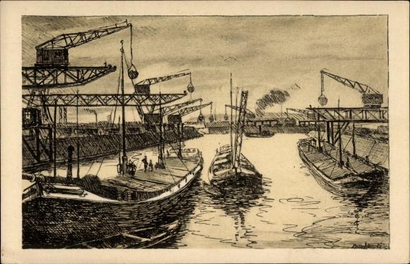 Künstler Aschaffenburg künstler ak aschaffenburg unterfranken bayern kohlenhafen