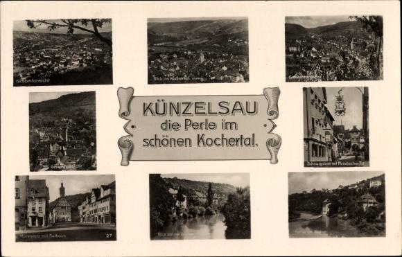 Ak Künzelsau im Hohenlohekreis Baden Württemberg, Marktplatz, Rathaus, Schnurgasse, Gesamtansicht
