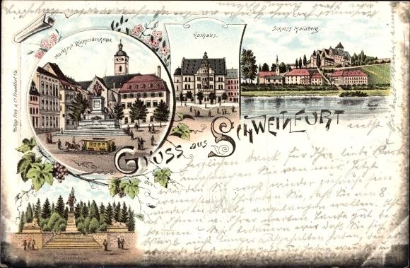 Litho Schweinfurt in Unterfranken Bayern, Markt mit Rückert Denkmal, Kriegerdenkmal, Rathaus