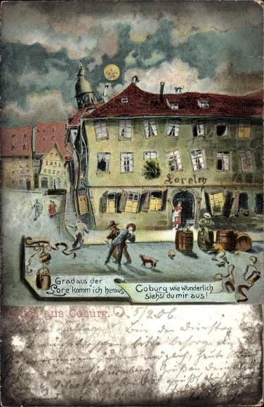 Künstler Ak Coburg in Oberfranken, Gasthaus Loreley, Betrunkene bei Nacht