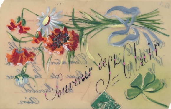 Zelluloid Ak Souvenir de Clair, Blumenstrauß, Mohnblüten