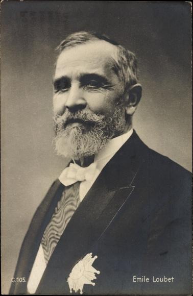 Ak Französischer Politiker Emile Loubet, Portrait, Orden, Freimaurer, Bürgermeister von Montélimar