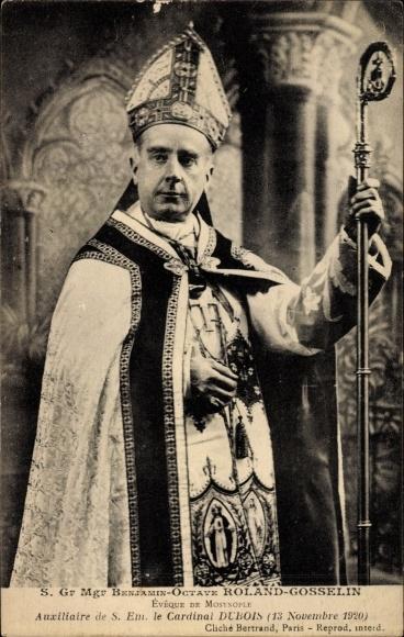 Ak S. Gr. Mgr. Benjamin Octave Roland Gosselin, Eveque de Mosynople, Portrait, Mitra