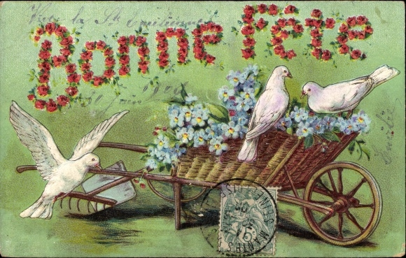 Präge Litho Glückwunsch sonstige, Bonne Fete, weiße Tauben auf einem Handkarren, Vergissmeinnicht