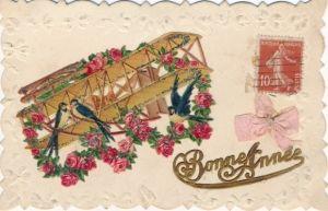 Material Glitzer Präge Litho Glückwunsch Neujahr, Vögel auf einem Doppeldecker, Rosen