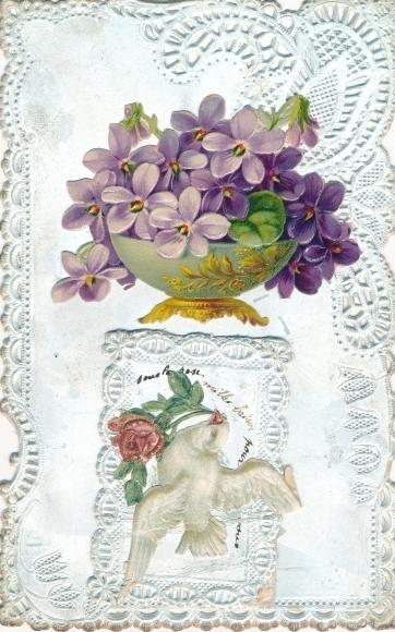 Material Klapp Litho Schale mit Veilchen, Taube mit Rose im Schnabel