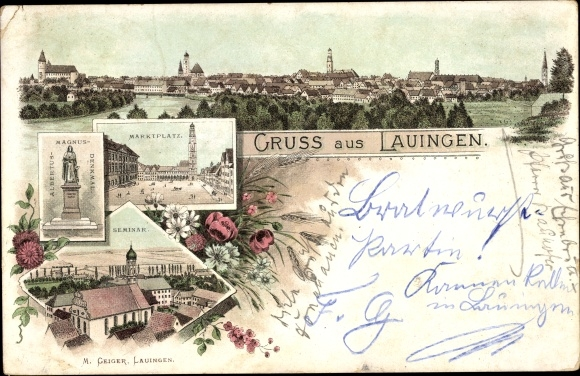 Litho Lauingen an der Donau Schwäbische Alb, Marktplatz, Albertus Magnus Denkmal, Seminar