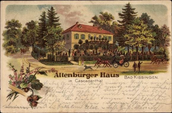 Litho Bad Kissingen Unterfranken Bayern, Altenburger Haus im Kaskadental