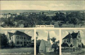 Ak Ossenheim Friedberg im Wetteraukreis Hessen, Wirtschaft zur Post von Aug. Heil, Kirche, Pfarrhaus