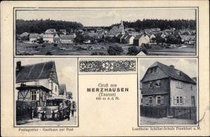 Ak Merzhausen Usingen im Hochtaunuskreis, Gasthaus zur Post, Schule, Bus Richtung Bad Neuheim
