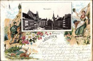 Passepartout Litho München Bayern, Partie am Marienplatz, Wanderer, Frau in Tracht