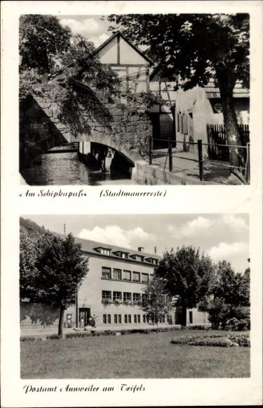Ak Annweiler am Trifels im Kreis Südliche Weinstraße, Am Schipkapass, Stadtmauerreste, Postamt