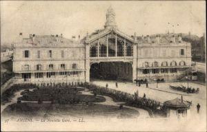 Ak Amiens Somme, La Nouvelle Gare, Blick auf den Bahnhof, Eingang, Parkanlagen, Lehnert & Landrock
