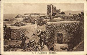 Ak Jesreel Palästina, Dorfansicht mit Anwohnern