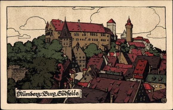 Steindruck Ak Nürnberg in Mittelfranken Bayern, Blick auf die Burg, Südseite