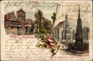 Litho Nürnberg in Mittelfranken Bayern, Henkersteg, Frauenkirche, Schöner Brunnen