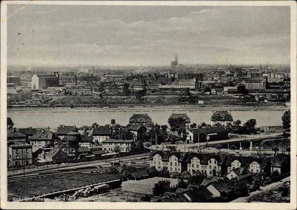Ak Kehl am Rhein Ortenaukreis Baden Württemberg, Blick auf Straßburg