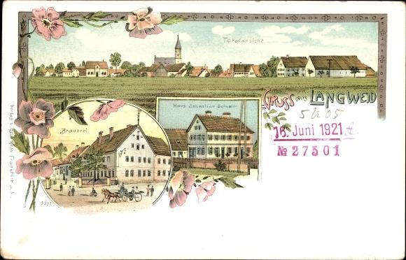 Litho Langweid in Schwaben, Totalansicht, Brauerei, Haus Sebastian Schuster
