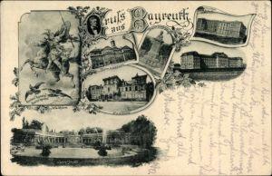 Ak Bayreuth in Oberfranken, Gymnasium, Graser Denkmal, Lehrerbildungsanstalt, Fantaisie, Walküre