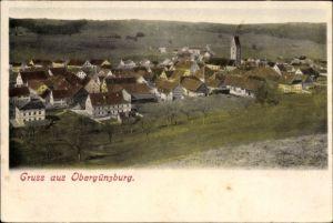 Ak Obergünzburg im schwäbischen Kreis Ostallgäu, Blick auf Ortschaft und Umgebung