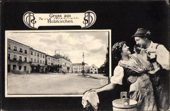 Ak Holzkirchen im Kreis Miesbach Oberbayern, Marktplatz, Liebespaar in Tracht, Wäsche waschen