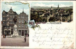 Wappen Litho Gießen an der Lahn Hessen, Marktplatz und Kriegerdenkmal, Teilansicht der Stadt