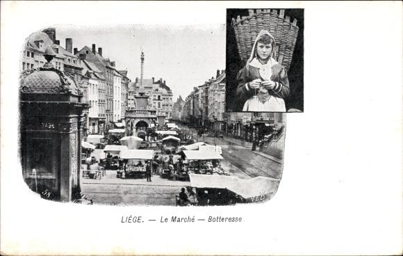 Ak Liège Lüttich Wallonien, Le Marché, Botteresse, Marktplatz, Frau mit Kiepe