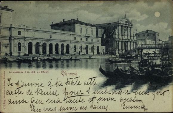 Mondschein Ak Venezia Venedig Veneto, La stazione e S. Ma. di Scalzi, Bahnhof, Gondeln