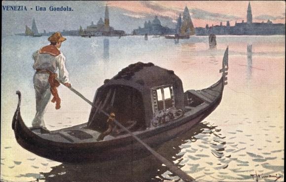 Künstler Ak Venezia Venedig Veneto, Una Gondola, Gondel auf dem Wasser, Blick zur Stadt