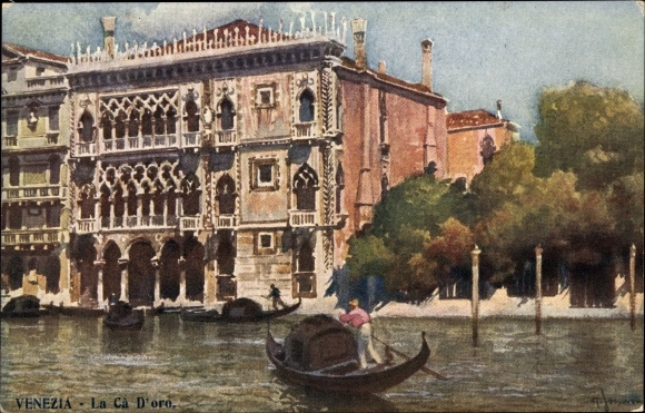 Künstler Ak Venezia Venedig Veneto, La Ca d'Oro, Gondel, Palast