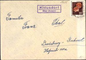Briefumschlag Landpoststempel Klausdorf über Zossen