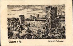 Künstler Ak Müllers, Rudi, Worms in Rheinland Pfalz, Altrömische Stadtmauer