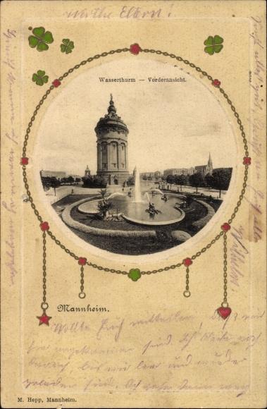 Präge Passepartout Ak Mannheim in Baden Württemberg, Blick auf den Wasserturm