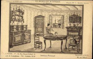 Künstler Ak Le Mobilier Rustique, G. Delafosse, Usines à St. Servan, Intérieur Provencal, Reklame